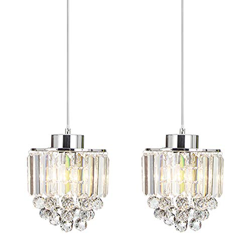 COTULIN Set of 2 Polished Pendant Light Decorative Pendant Lighting Fixture Cord Adjustable Crystal Chandelier Pendant Light,Ceiling Light for Living Room Dining Room - Crystal 2 Pendant Light