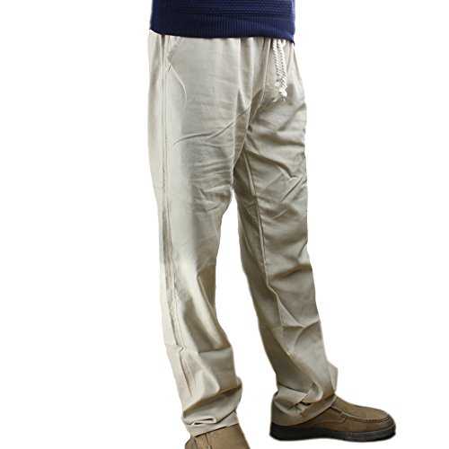 Flax Linen Pants (Men's Summer Linen Flax Breathable Quck-dry Wicking Moisture Beach Long Straight Pant With Drawstring Pockets Elastic Waistband Trousers)