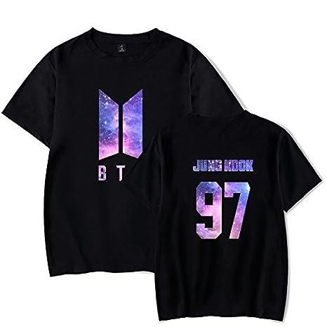 Flyself Unisexe Tee Kpop BTS T-Shirt Bangtan Boys Top d/ét/é Kpop Jimin V Jung Kook Suga Jin RM J-Hope