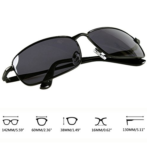 Anteojos Aviador Mujer Protección en Hombre Oro Vintage UV de Marco Drive Métal Sunglasses LINNUO Polarizadas Gafas Sol Negro Lente Cadre IPXOOx