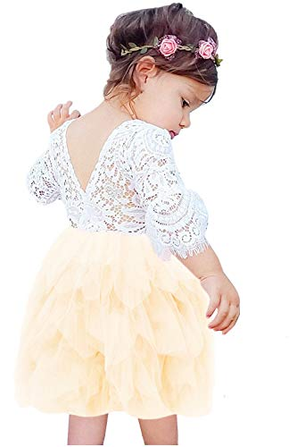 2Bunnies Girl Beaded Peony Lace Back A-Line Tiered Tutu Tulle Flower Girl Dress (Ivory Bell Sleeve, 4T) ()