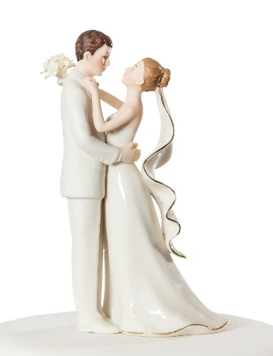 Wedding Collectibles Personalized Off-White Porcelain Bride and Groom Wedding Cake Topper Figurine (Personalized Off-White Porcelain Bride and Groom W) ()