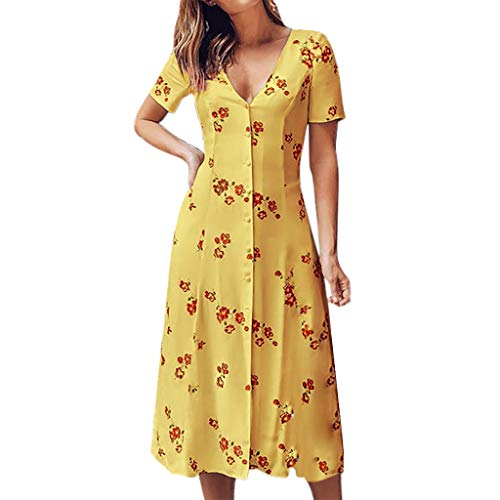 (LUNIWEI Women's Summer Short Sleeve V-Neck Dress Floral Print Boho Long Dresses with Button Yellow)