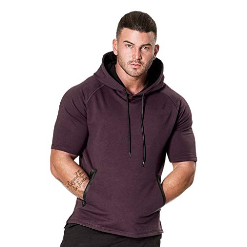 Beautyfine Men's Hoodie T-Shirt Hooded Sweatshirt Short Sleeve Plaid Top Fashion Tee Outwear Blouse (L, Purple)