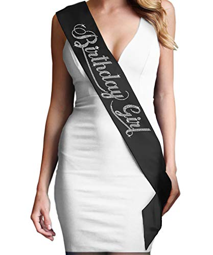 Birthday Girl Rhinestone Birthday Sash - Birthday Party Supplies & Decorations - Black Sash(BdayGrl RS) Blk