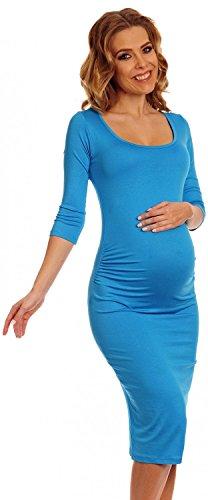 Happy Mama Womens Maternity Stretch Jersey Dress Ruched Waist. 939p (Cyan, 6)