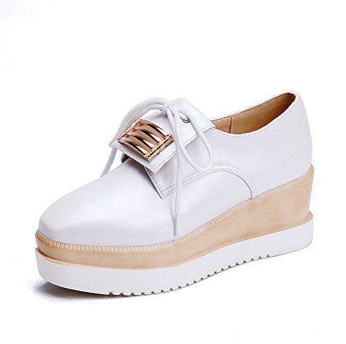 Pumps Womens Imitated Leather Lace Shoes White Metalornament up BalaMasa TPwnqdYq
