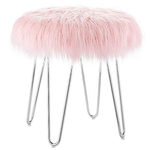 Pink Faux Fur Ottoman Stool Buy Online In Uae