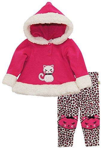 Duck Goose Baby Girls Cute Little Kitty Hooded Fleece Jacket Legging Pant Set, Pink, 24 (Little Goose Girl)