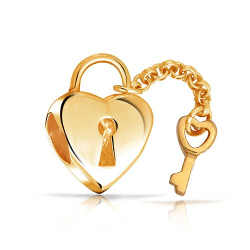 Bling Jewelry 925 Sterling Silver Gold Plated Lock Key Heart Bead Fits Biagi Pandora