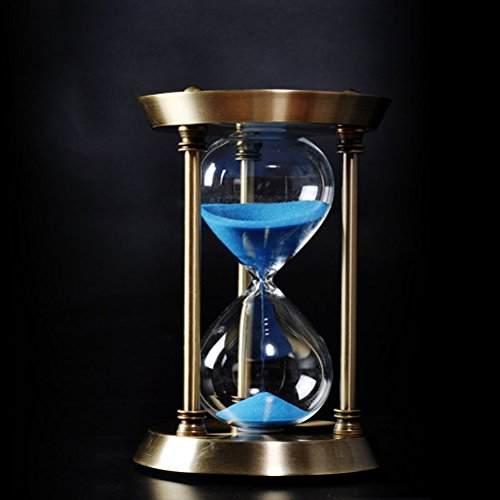 SUNLIGHTAM-Retro-Style-Brass-Metal-Hourglass-153060-Minutes-Sand-Timer-Sandglass-Hour-Glass-Clock-Home-Table-Decoration-Thanksgiving-Xmas-Birthday-Valentines-Gift-60-minute-17x31cm-Blue