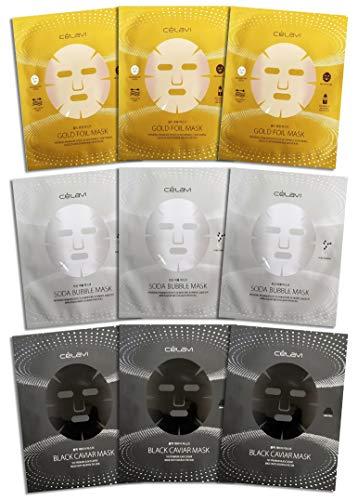 Celavi Triple Essence Korean Sheet Face Mask Skin Care (Pack of 9)   Firms, Brightness, Nourishes Skin   Black Caviar, Gold & Bubble   Cruelty Free - Vegan