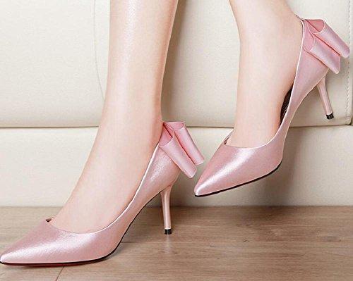 Sposa elegante tacchi a spillo donna della punta Bowknot scarpe Nude , pink , 36