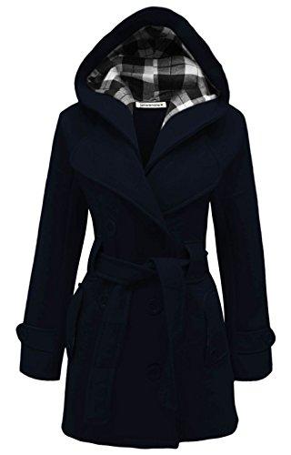 con cappotto Dimensioni superiore 4XL cintura Signore invernale cappuccio Marina Militare S Janisramone ORXEx