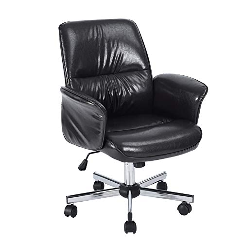 Homy Casa Home Office Chair Desk Chair (Mid-Backrest, Black)