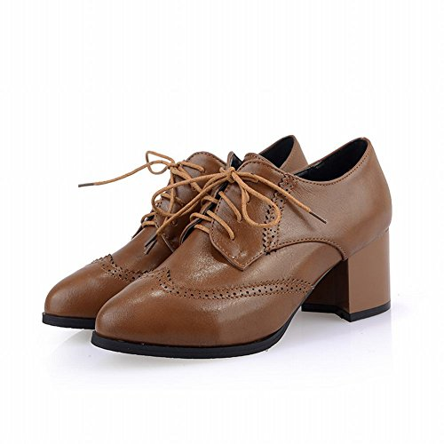Carol Chaussures Rétro Womens Bout Pointu Mode Lace-up Style Britannique Moyen Talon Chunky Chaussures Oxford Marron