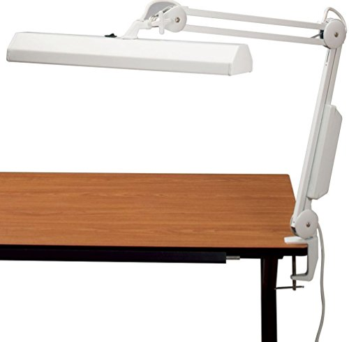 Alvin FL655-D Fluorescent Task Light, White, 18″ x 4 1/2″ heavy-duty rectangular metal shade is fully adjustable using the convenient thumb knob, 38″ reach extension arm offers a wide range of positioning options