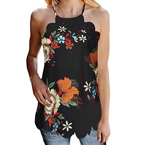 Hivot Women's Shirts Sexy Sleeveless Floral Printed Tank Tops Shirts Blouses Camis Tee ()