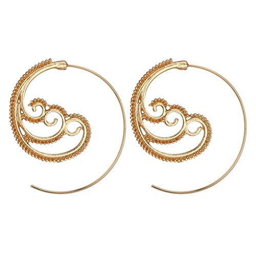 DENER Women Ladies Circles Earrings,Retro Hollow Spray Piercing Ear Clips Stud Hoop Dangle Drop Earrings Eardrop (Gold) (Spray Hollow)