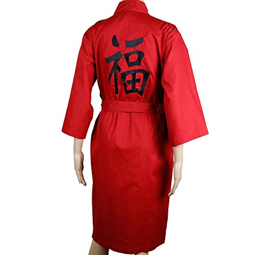 "Kimono brodé ""Bonheur"" en coton rouge"