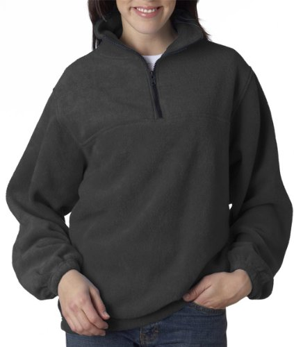8480 UltraClub Adult UltraClub® Iceberg Fleece 1/4-Zip Pullover (Charcoal) (4XL)