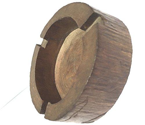 Wooden Round Brown Black Holder Smoke Cigarette Ashtray