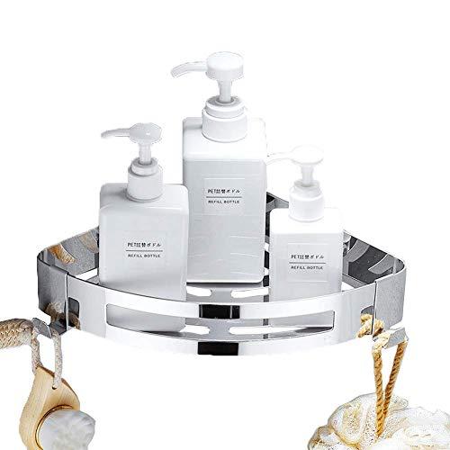 HomeYoo Bathroom Shower Corner Shelf, Shower Caddy SUS 304 Stainless Steel with Hooks, Rustproof Wall Mounted Kitchen Bathroom Holder Rack Hanging Organizer Storage Basket, Polished Chrome ()