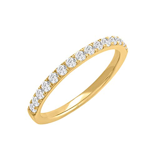 10k Yellow Gold Diamond Semi-Eternity Wedding Band Ring (1/3 cttw, H-I Color, I2-I3 Clarity), Size 7