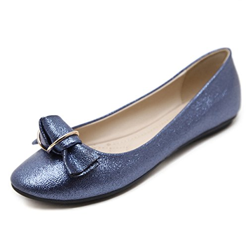 Women's Ballet Flats, Bowknot Gold Blue Pointed Toe Dressy Shoes
