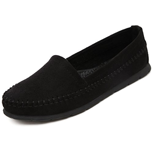 LL STUDIO Womens Simple Comfort Black Synthetic Driving Walking Moccasins Loafers Boat Shoes 5 M US -  LL STUDIO-QZ339-3-Black35