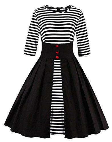 Robes 1950's 4XL 50s soire Retro S Multicolor Audrey Dress Vintage Evening black Stripe Casual de 3 Sleeve VERNASSA Cocktail 4 Rockailly Swing Belted Party 1335 Retro dwxB7tdEq