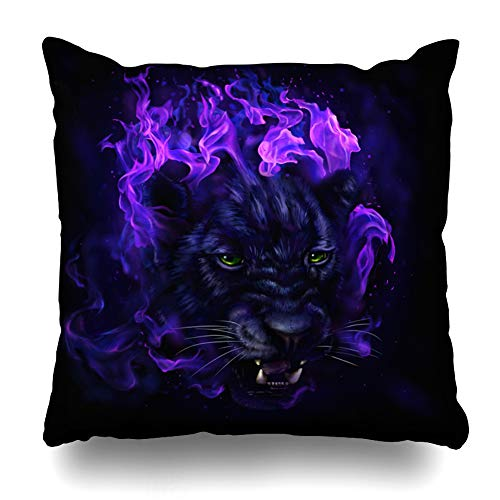Ahawoso Throw Pillow Covers Cases Glow Jungle Panther Head Flames Digital Painting Burn Full Jaguar Big Black Brush Design Fur Home Decor Cushion Square Size 18