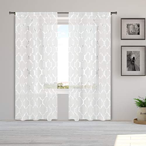 Home Maison - Bena Metallic Sheer Pole Top Window Curtains for Living Room & Bedroom - Assorted Colors - Set of 2 Panels (38 X 84 Inch - White)
