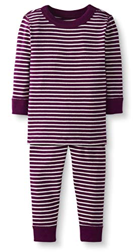 Moon and Back by Hanna Andersson Baby/Toddler 2-Piece Organic Cotton Long Sleeve Stripe Pajama Set, Berry Stripe, 6-12 months ()