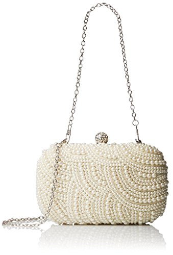 Snowskite Women's Handmade Full Pearl Bridal Evening Clutch Bag Ivory (Ivory Pearl Ring)