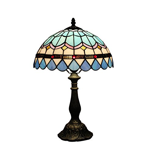 (12-Inch European Pastoral Style Stained Glass Mediterranean Series Feather Tiffany Table Lamp Bedside Light)