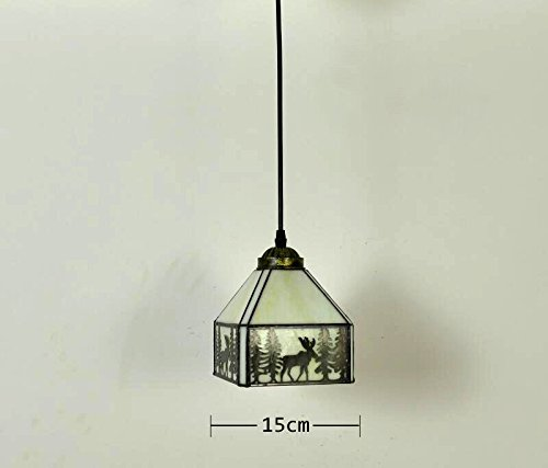 ANYE Tiffany Retro Lighting Deer Shadow Art Handmade Glass Shade Iron Chain Lighting 15ft UL Dimmable Switch Cord Chandelier Bulb Not Included