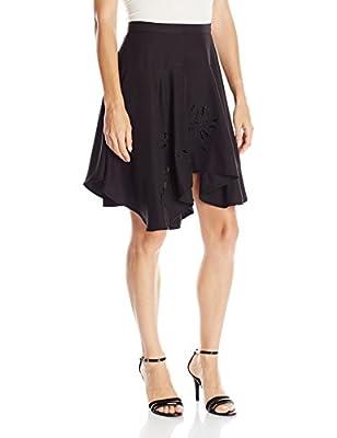 Halston Heritage Women's Asymmetrical Flounce Skirt Embroidery