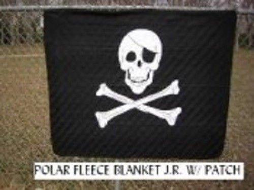 Pirates Fleece Throw - Jolly Roger with Patch Pirate 50x60 Polar Fleece Blanket Throw