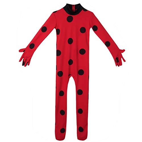 iEFiEL Kids Girls Marinette Mira-culous Lady-Bug Cat Noir Costume Halloween Party Outfit Jumpsuit Set 7-8 -