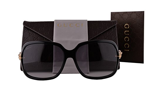 Gucci Crystal Sunglasses (Gucci GG3584/N/S Sunglasses Shiny Black w/Gray Gradient Lens & Pave Crystal Temples REWVK GG 3584)
