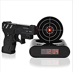 Singeek Lock n' Load Target/Gun Alarm Clock, Black