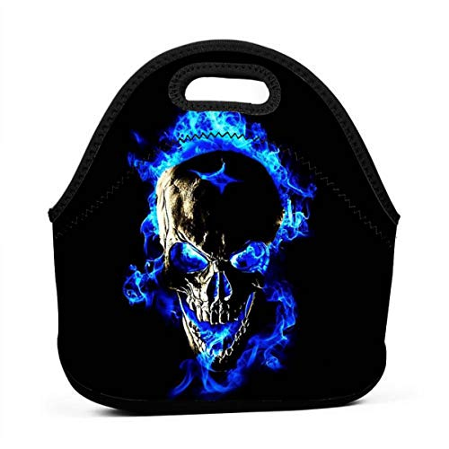 Kuyanasfk Blue Flame Skull Fire Boys Girls Kids Sleeve School Office Travel Outdoor Warm Thermal Waterproof Lunch Bag Tote Box Container Tote Pouch Food Carrying Insulated Holder -