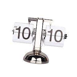 Fenteer Retro Modern Auto Flip Clock Single/Dual Stand Metal Table Desk Shelf Clock Home Living Room Tabletop Decor Craftworks - Single Stand White, 8x21x16cm