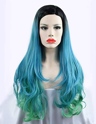 SEIKEA 30'' Long Curly Wig Cosplay Costume Part Side for Women Black Root Natural Hair Night Party Makeup - Sky Blue with Light Green
