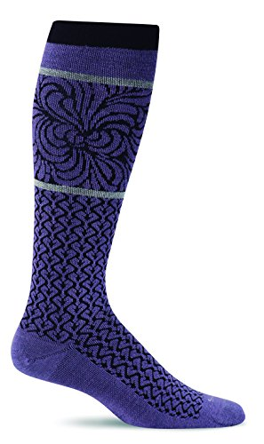 Sockwell Women's Art Deco Graduated Compression Socks, Plum, Medium/Large