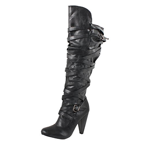 Sexy Boots For Women (Womens Knee High Leatherette Slouchy Strappy Knee High Kitten Heel Pointy Toe Boots, Black Pu, 5.5)