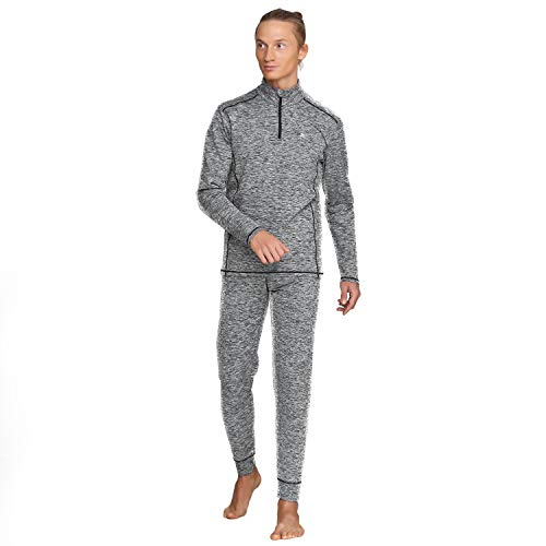 Men's Thermal Base Layer Winter Set Underwear Sports Fitness Workout 2pc Halfzip Jacket & Pants (XL) ()