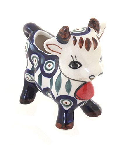 Blue Rose Polish Pottery Peacock Cow Creamer by Zaklady