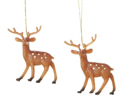 Miniature - Plastic Painted Reindeer - 1.75 inches - 4 pieces (Miniature Reindeer)